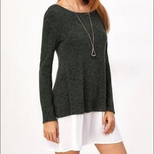 Dresses & Skirts - Sweater Dress With Georgette Flounce